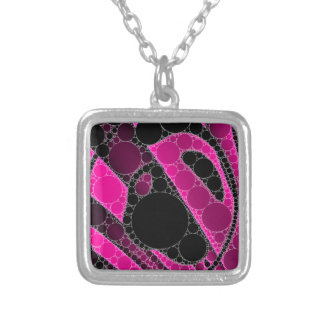 Hot Pink Black Circle Abstract Square Pendant Necklace