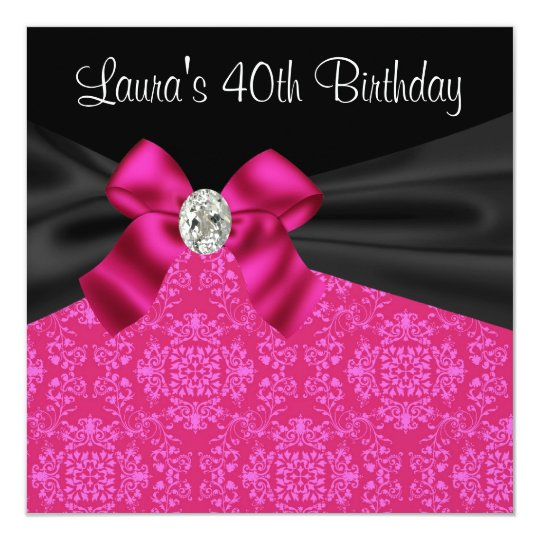 Hot Pink Black Damask Birthday Party Card