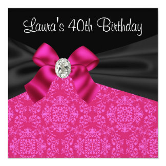 Hot Pink Black Damask Birthday Party 5.25x5.25 Square Paper Invitation Card