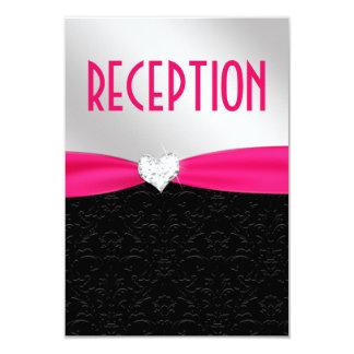 Hot Pink Black Damask Diamond Reception Card