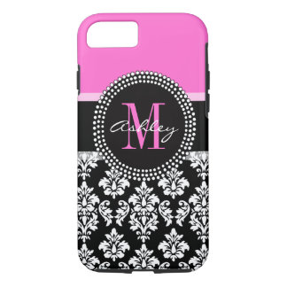Hot Pink Black Damask Monogrammed iPhone 8/7 Case