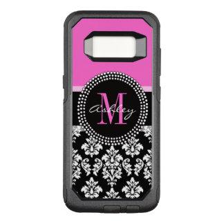 Hot Pink Black Damask Monogrammed OtterBox Commuter Samsung Galaxy S8 Case