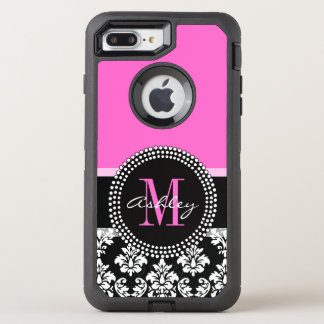 Hot Pink Black Damask Monogrammed OtterBox Defender iPhone 8 Plus/7 Plus Case