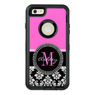 Hot Pink Black Damask Monogrammed OtterBox Defender iPhone Case