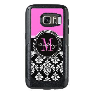 Hot Pink Black Damask Monogrammed OtterBox Samsung Galaxy S7 Case