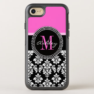 Hot Pink Black Damask Monogrammed OtterBox Symmetry iPhone 8/7 Case