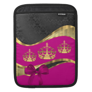 Hot pink & black damask pattern iPad sleeve