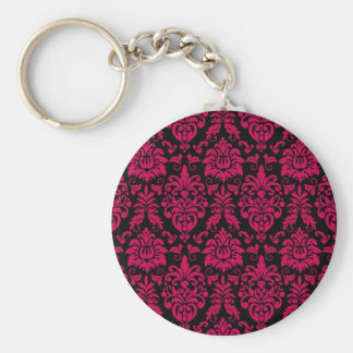 Hot Pink Black Damask Pattern Keychain