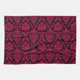 Hot Pink Black Damask Pattern Tea Towel