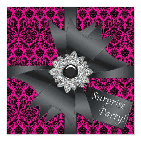 Hot Pink Black Damask Surprise Birthday Party Card