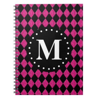 Hot Pink Black Diamond Pattern Monogram Spiral Note Book