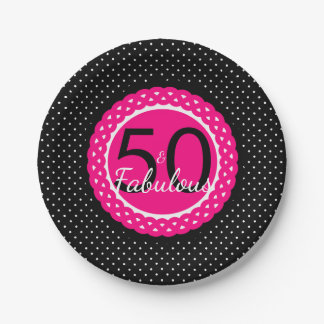 Hot Pink Black Dots 50 & Fabulous Birthday Party Paper Plate