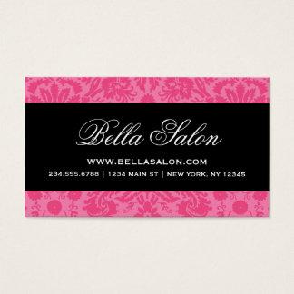 Hot Pink & Black Elegant Vintage Damask Business Card