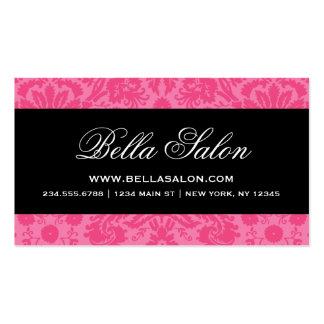 Hot Pink Black Elegant Vintage Damask Business Card Template