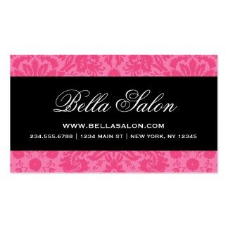 Hot Pink & Black Elegant Vintage Damask Pack Of Standard Business Cards