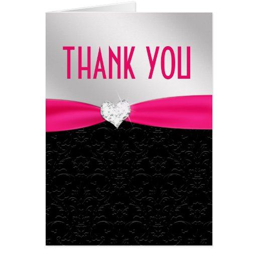Hot Pink Black Floral Damask Diamond Thank You Cards