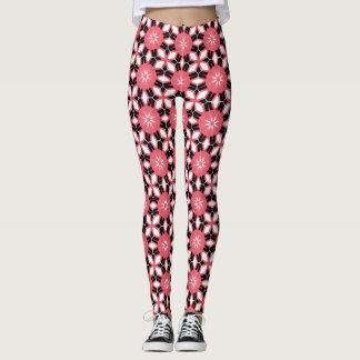 Hot Pink Black Floral Flower Star Geometric Cool Leggings