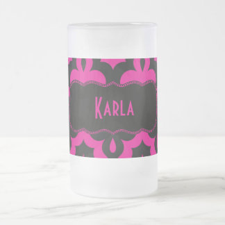 Hot Pink & Black Frieze Frosted Glass Mug