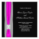 Hot Pink Black Fuchsia Pink Bow Wedding Custom Invite