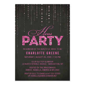 Hot Pink & Black Glitter Look Hens Party 13 Cm X 18 Cm Invitation Card