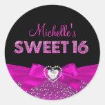 Hot Pink & Black Heart Bow Sweet Sixteen Sticker