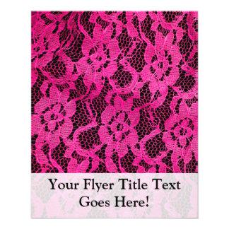 Hot Pink/Black Lace-Look 11.5 Cm X 14 Cm Flyer