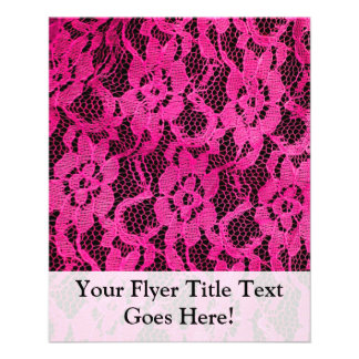 Hot Pink Black Lace-Look Personalized Flyer
