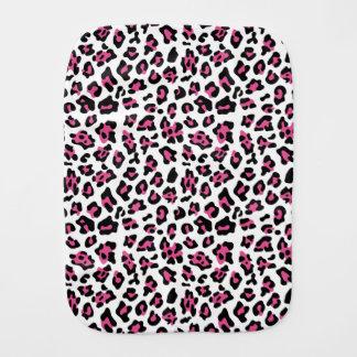 Hot Pink Black Leopard Animal Print Pattern Burp Cloth