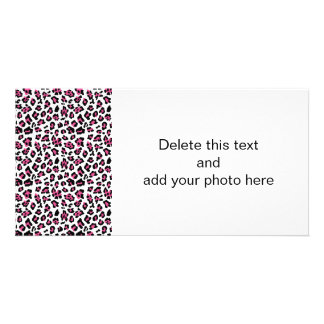 Hot Pink Black Leopard Animal Print Pattern Personalized Photo Card