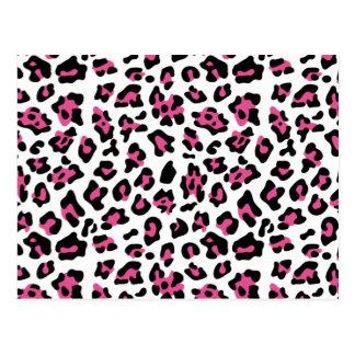 Hot Pink Black Leopard Animal Print Pattern Postcard