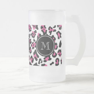 Hot Pink Black Leopard Animal Print with Monogram Frosted Glass Beer Mug