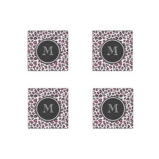 Hot Pink Black Leopard Animal Print with Monogram Stone Magnet