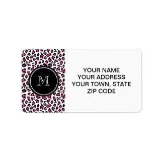 Hot Pink Black Leopard Animal Print with Monogram Label