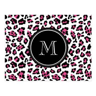 Hot Pink Black Leopard Animal Print with Monogram Postcard