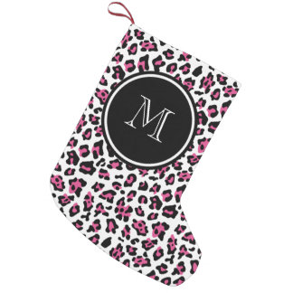 Hot Pink Black Leopard Animal Print with Monogram Small Christmas Stocking