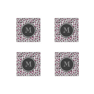 Hot Pink Black Leopard Animal Print with Monogram Stone Magnet