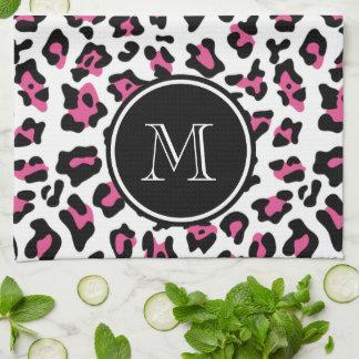 Hot Pink Black Leopard Animal Print with Monogram Tea Towel