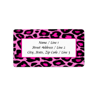 Hot Pink & Black Leopard Print Labels