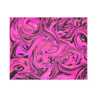 Hot Pink & Black Liquid Swirlz Canvas Print