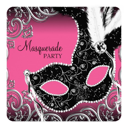 Hot Pink Black Mask Masquerade Party Card