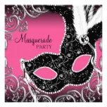 Hot Pink Black Mask Masquerade Party Custom Invitations