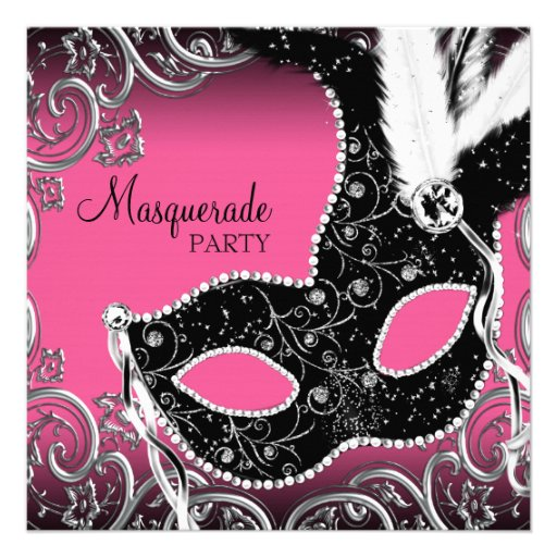 Hot Pink Black Mask Masquerade Party Custom Announcements