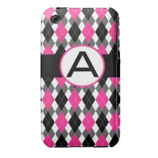 "Hot Pink & Black Monogram Argyle iPhone Case ""A"""