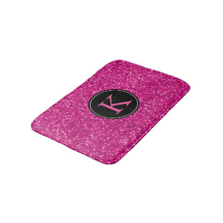 Hot Pink Black Monogram | Girly Glitter Pattern Bath Mat