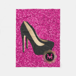 Hot Pink Black Monogram | High Heels Glitter Fleece Blanket