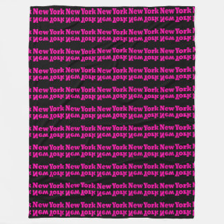 Hot Pink Black New York NYC Modern Home Decor Fleece Blanket