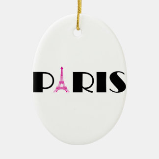 Hot Pink Black Paris Ceramic Oval Decoration