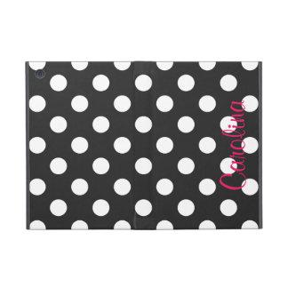 Hot Pink Black Polka Dot Personalized Name Girly iPad Mini Case