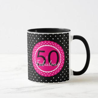 Hot Pink & Black Polka Dots 50 & Fabulous Birthday Mug