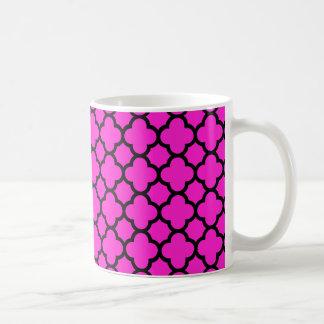 Hot Pink Black Quatrefoil Pattern Mugs